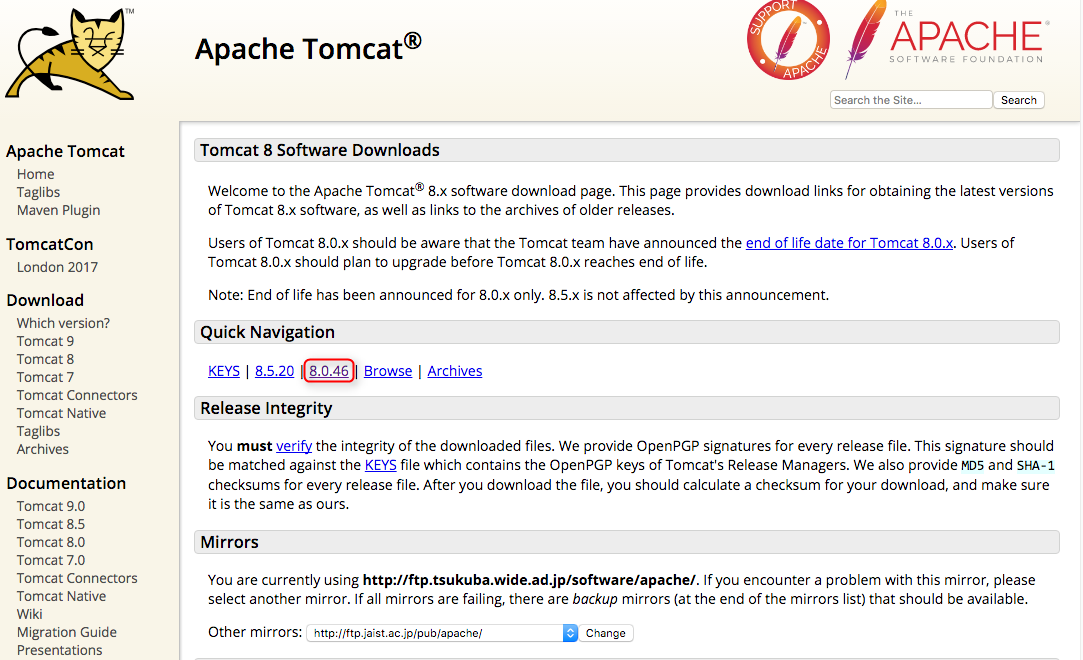 apache tomcat download for mac